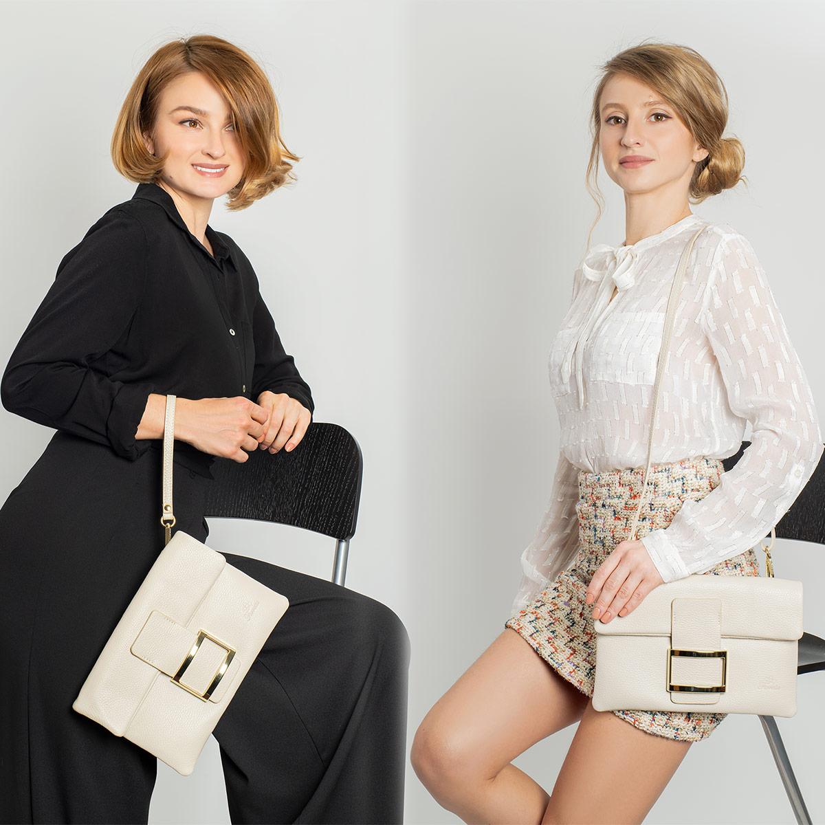Fioretta Italian Genuine Leather Wristlet Crossbody Shoulder Bag Clutch Handbag For Women - Beige
