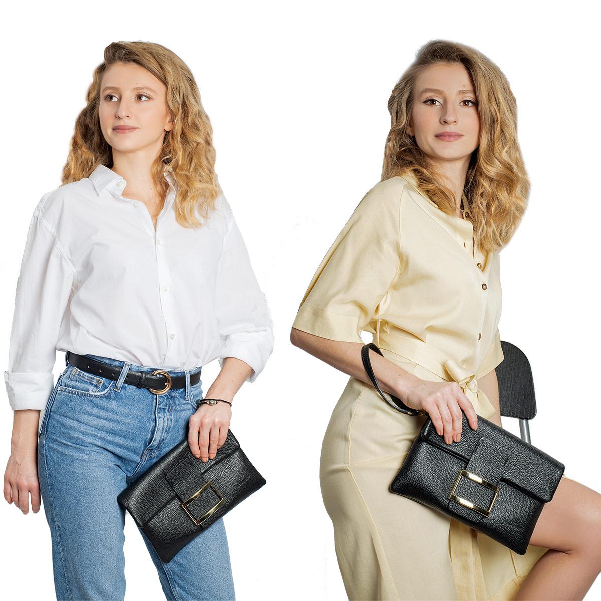 Fioretta Italian Genuine Leather Wristlet Crossbody Shoulder Bag Clutch Handbag For Women - Black