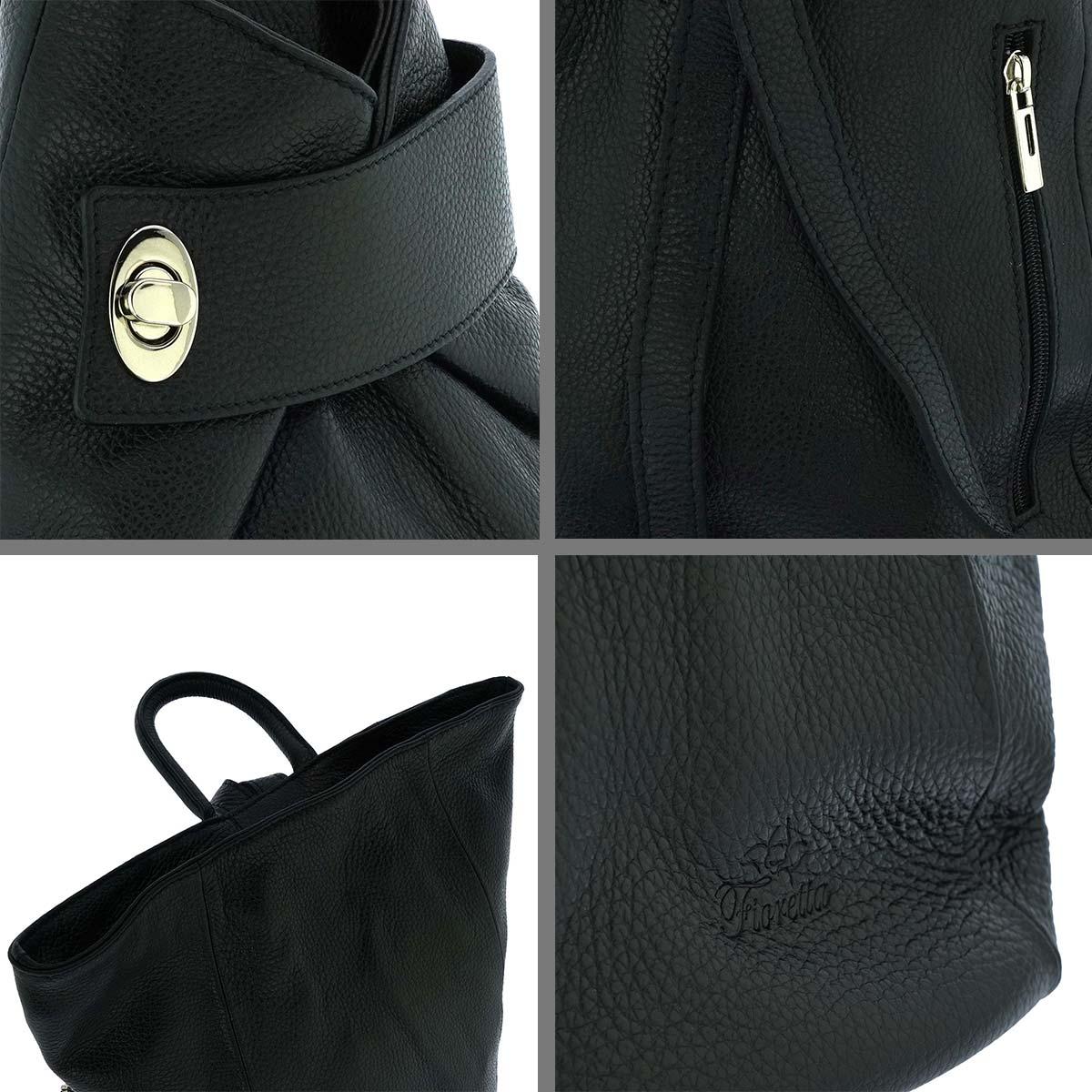 Fioretta Italian Genuine Leather Top Handle Backpack Handbag For Women - Black