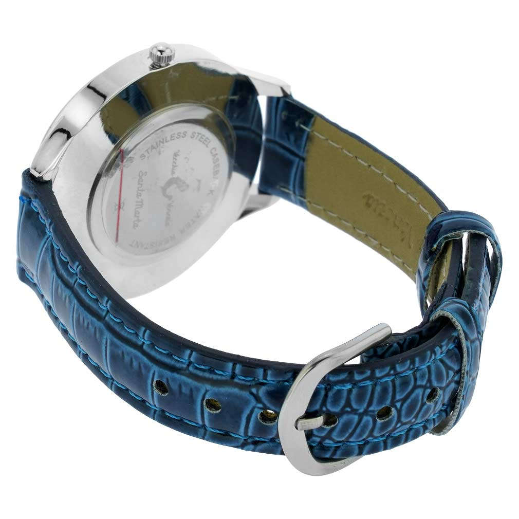 Gold Leaf Murano Glass Watch With Leather Band - Blue