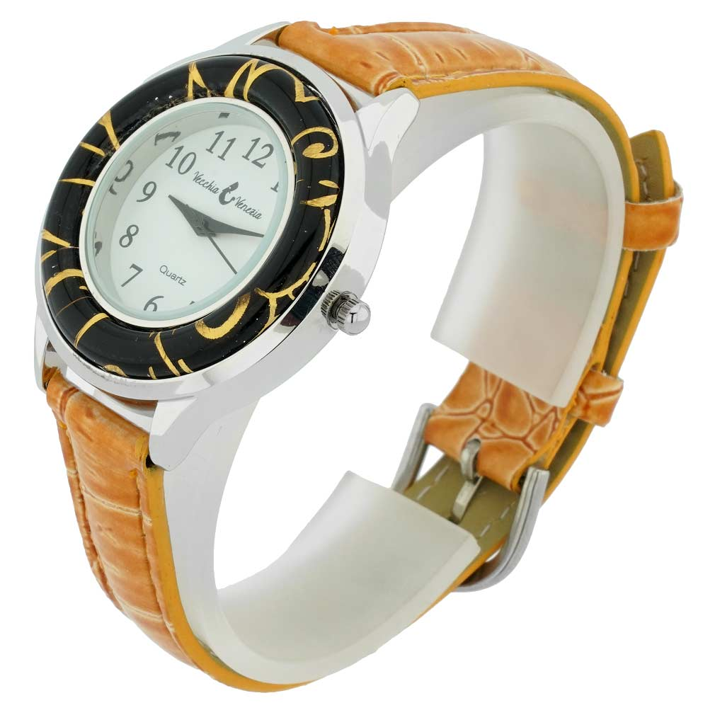 Gold Leaf Murano Glass Watch With Leather Band - Light Brown