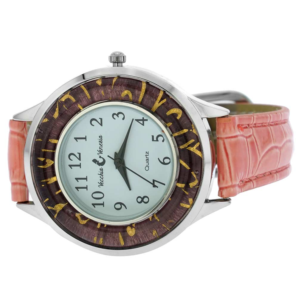 Gold Leaf Murano Glass Watch With Leather Band - Pink