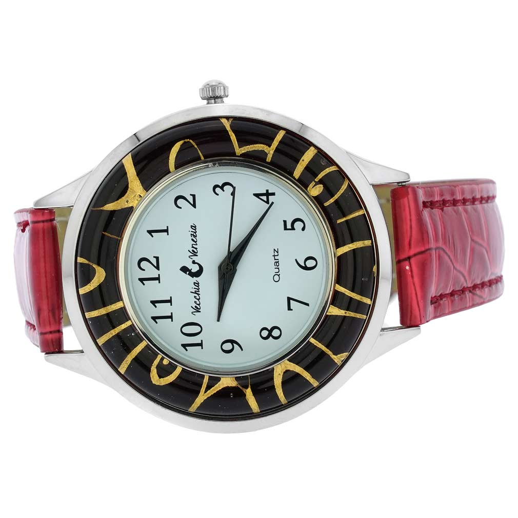 Gold Leaf Murano Glass Watch With Leather Band - Red