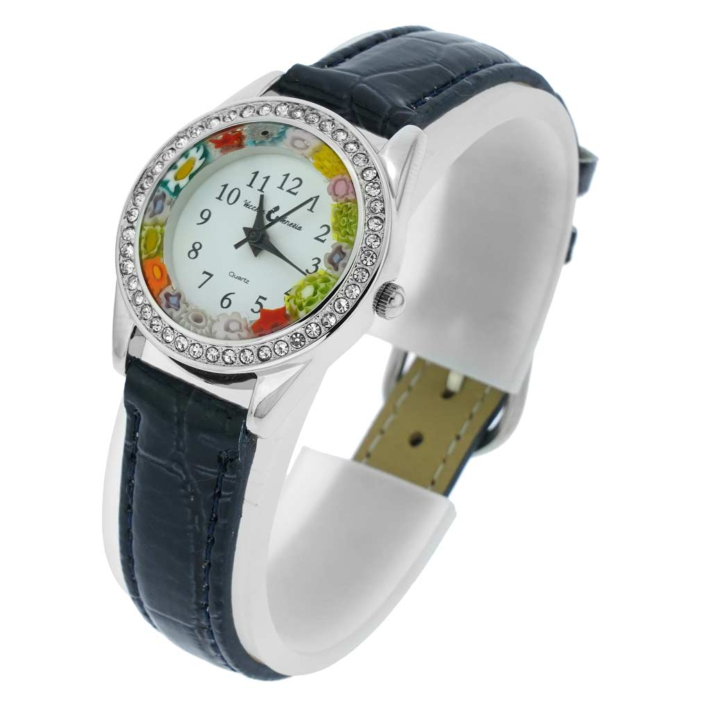 Venetian Crystals Murano Glass Watch With Leather Band - Blue