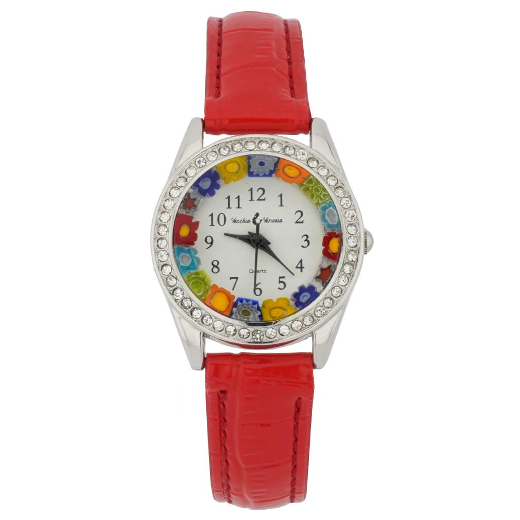 Venetian Crystals Murano Glass Watch With Leather Band - Red