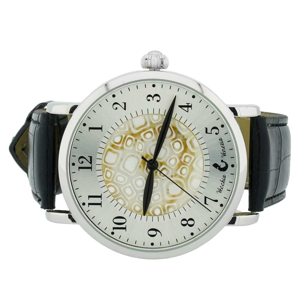 Murano Glass Men\'s Millefiori Watch With Leather Band - White and Black