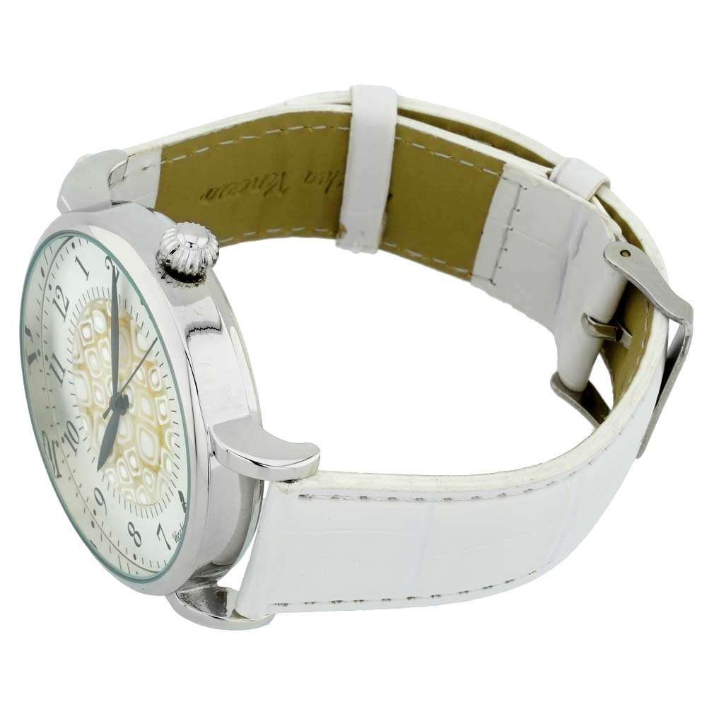 Murano Glass Men\'s Millefiori Watch With Leather Band - White