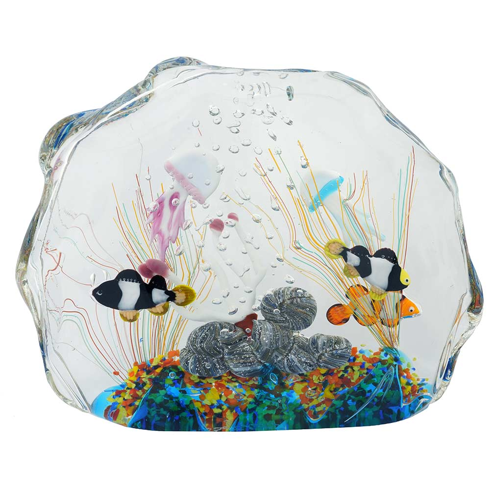 Murano paperweights murano glass aquarium bag with for Fish in a bag