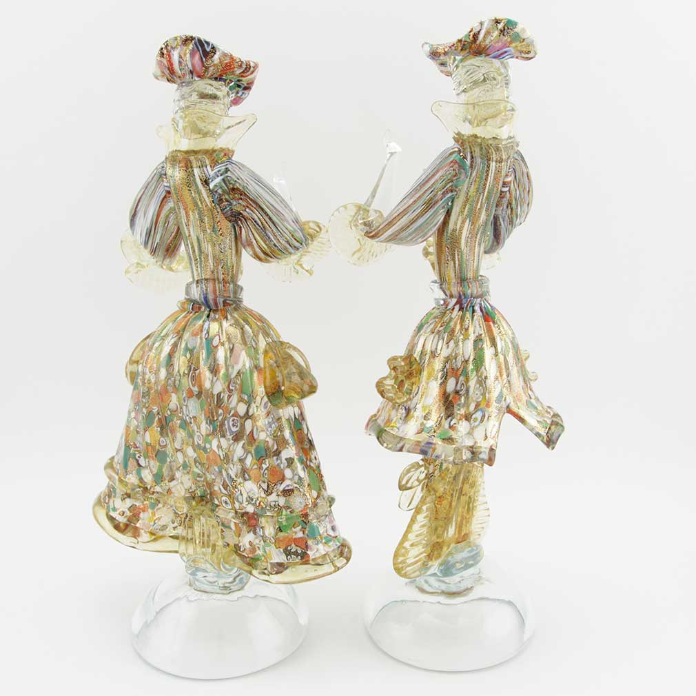 Venetian Goldonian Couple - Millefiori and Gold