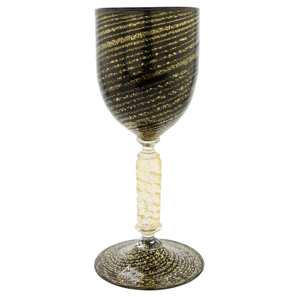 Murano Glass Goblet - Black and Gold