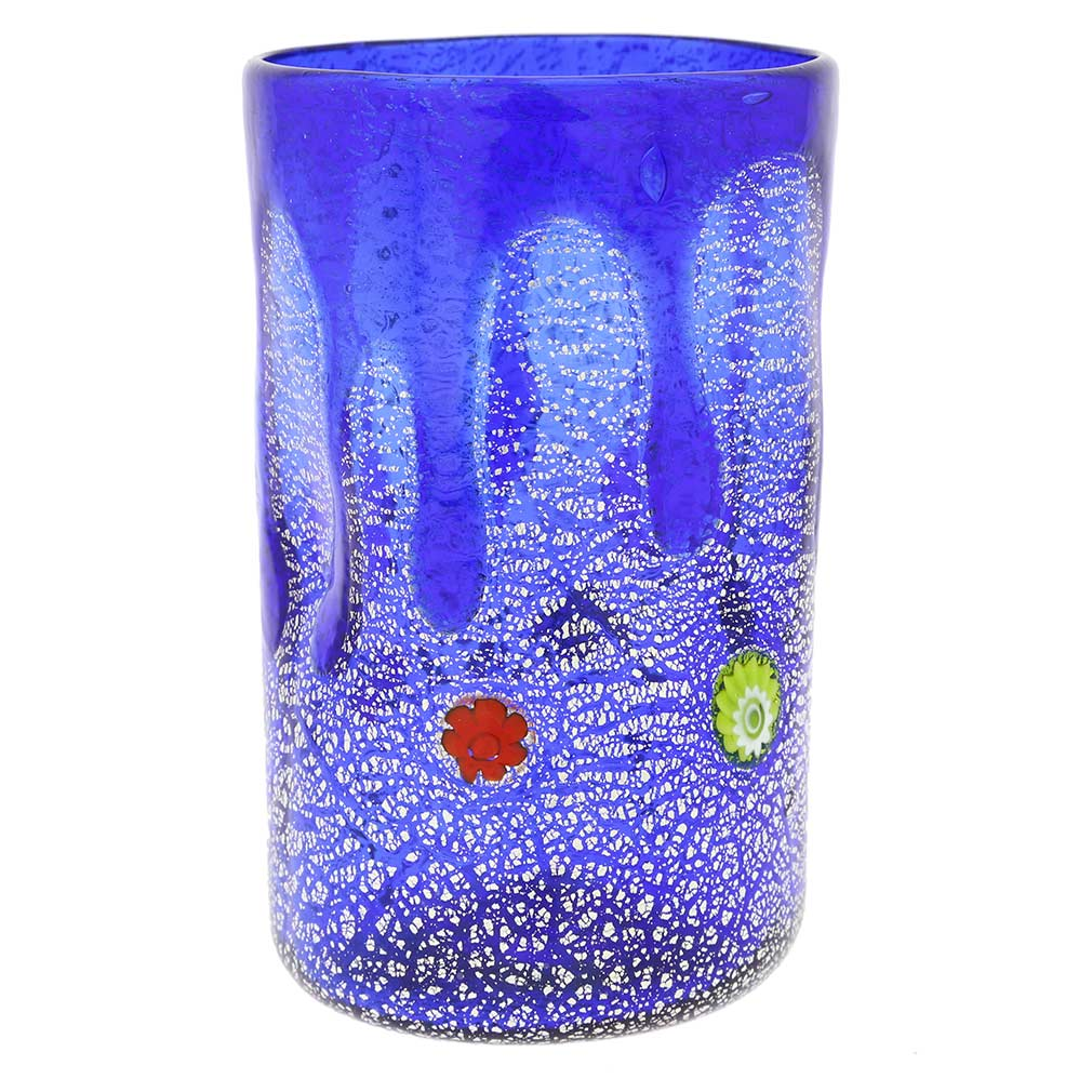 Murano Tall Drinking Glass - Silver Lava Blue