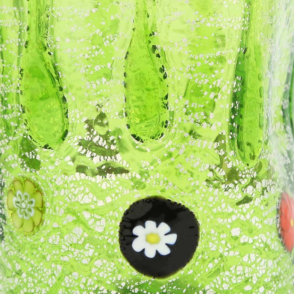 Murano Tall Drinking Glass - Silver Lava Green