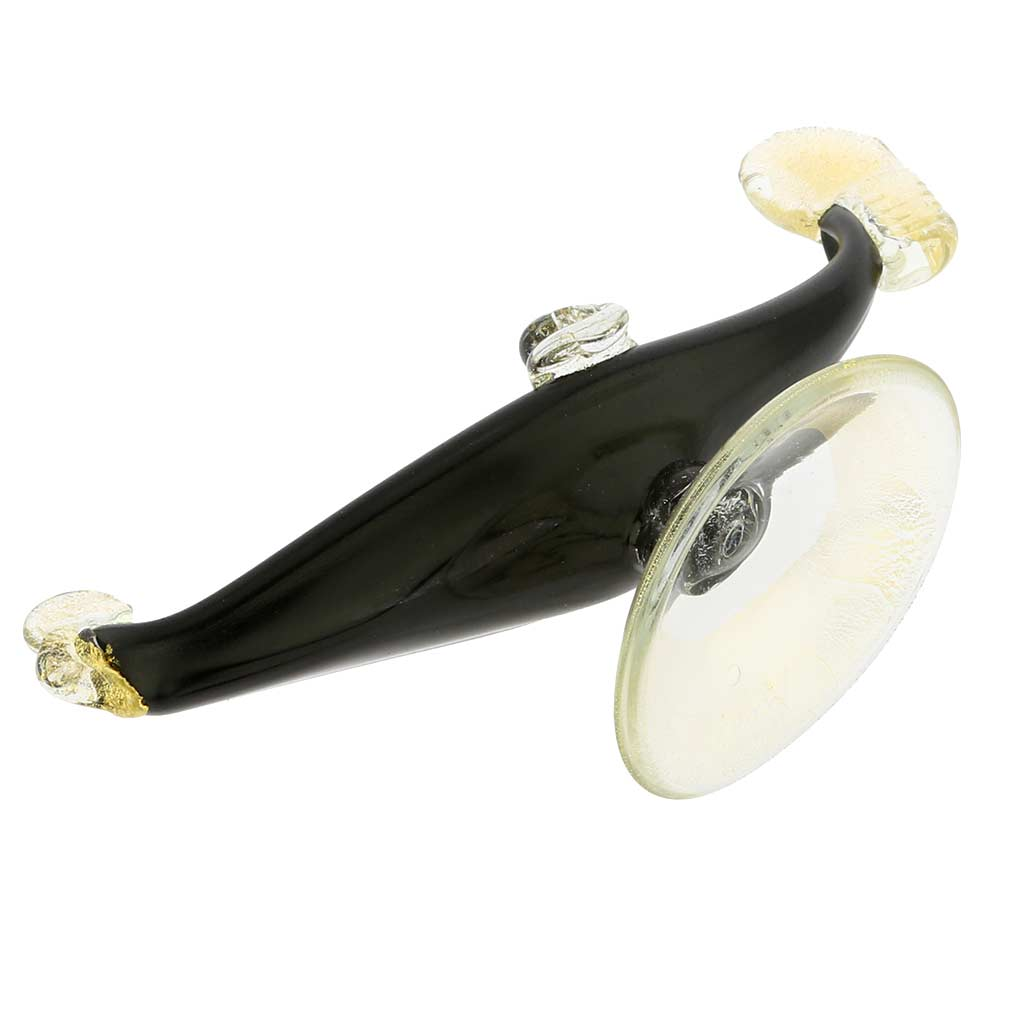 Murano Glass Gondola Black And Gold