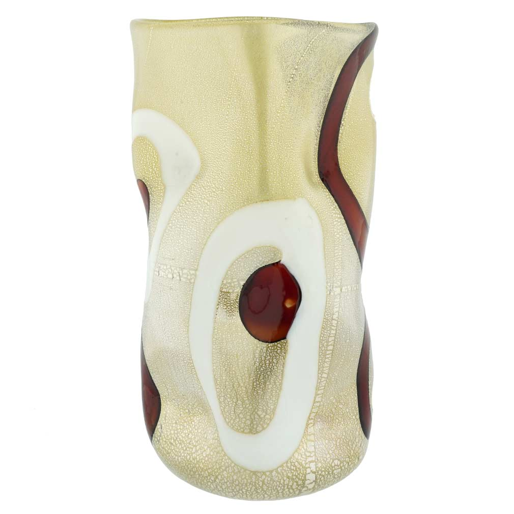 Murano Art Glass Wavy Vase - Cream and Red