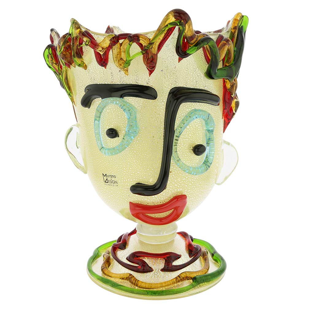 Murano Glass Picasso Head On Base Vase