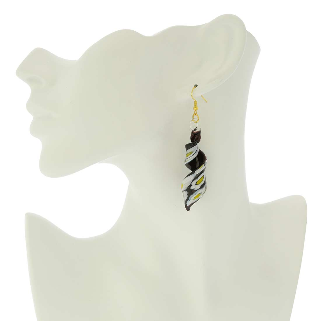 Black Daisy Spiral Earrings