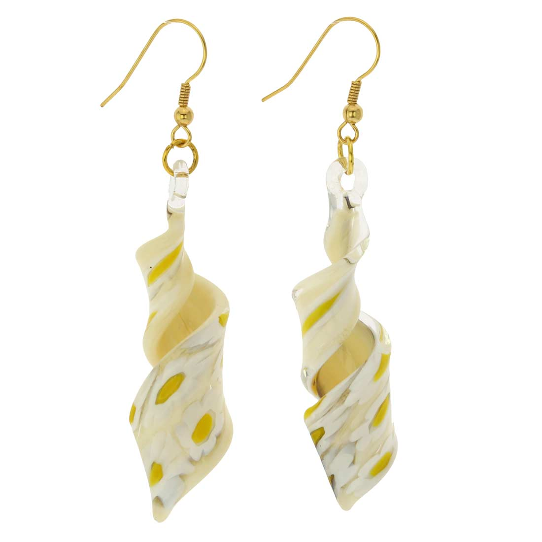 Cream Daisy Spiral Earrings