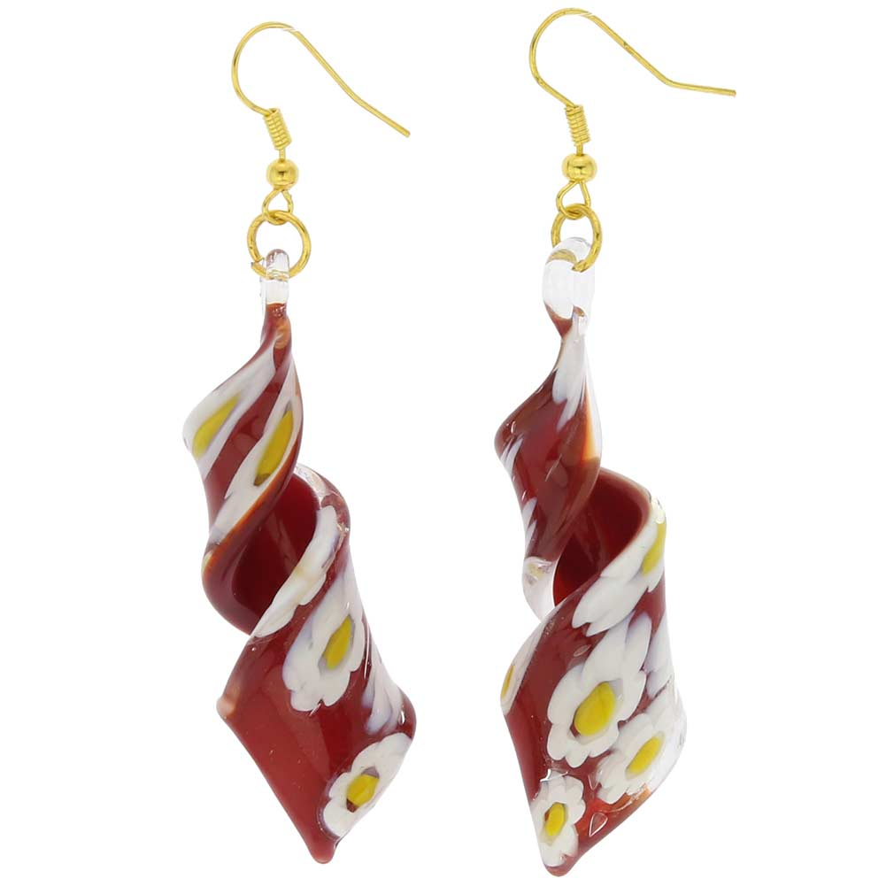 Red Daisy spiral earrings