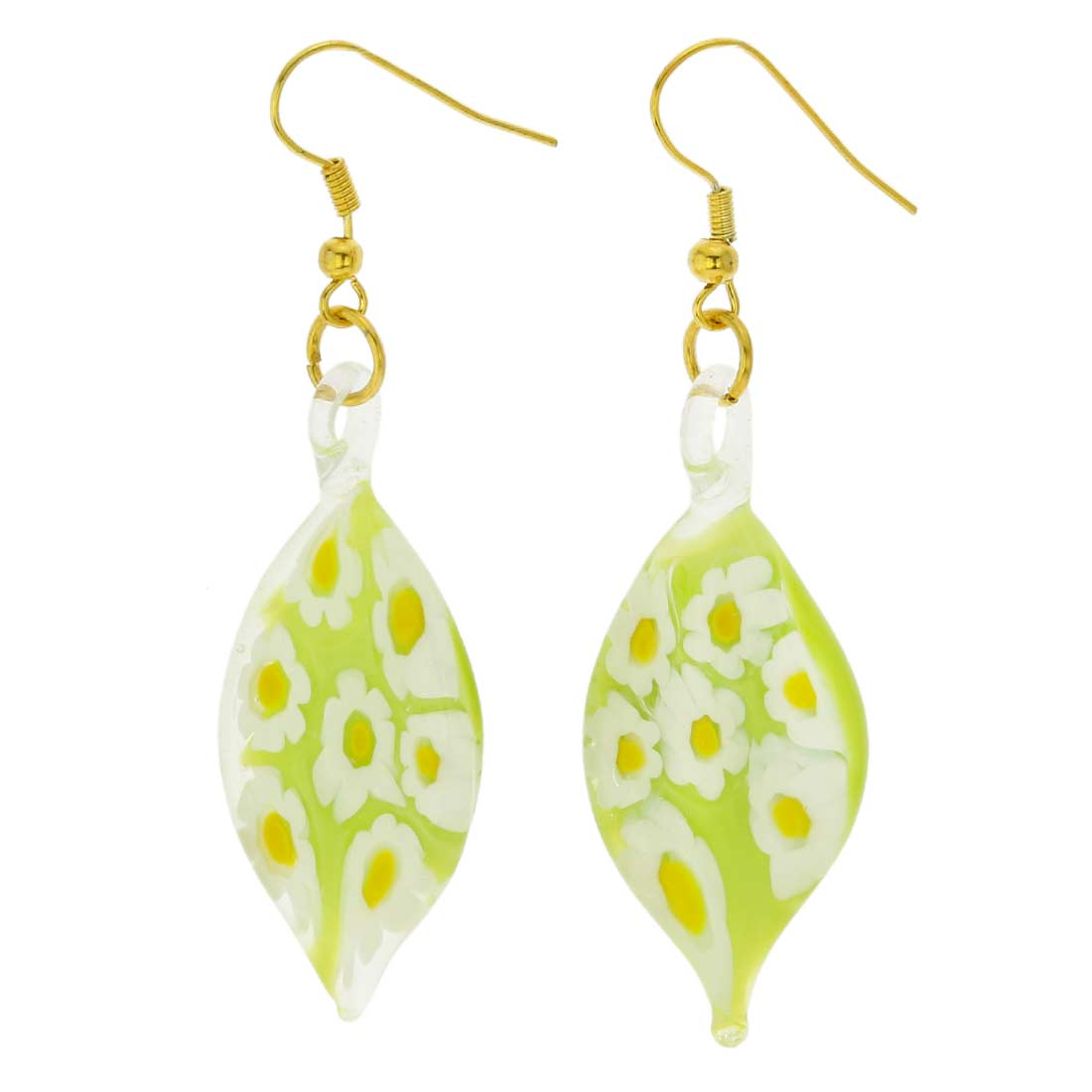 Lime Daisy Leaf Earrings