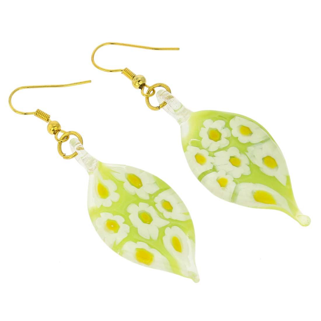 Lime Daisy Leaf Earrings