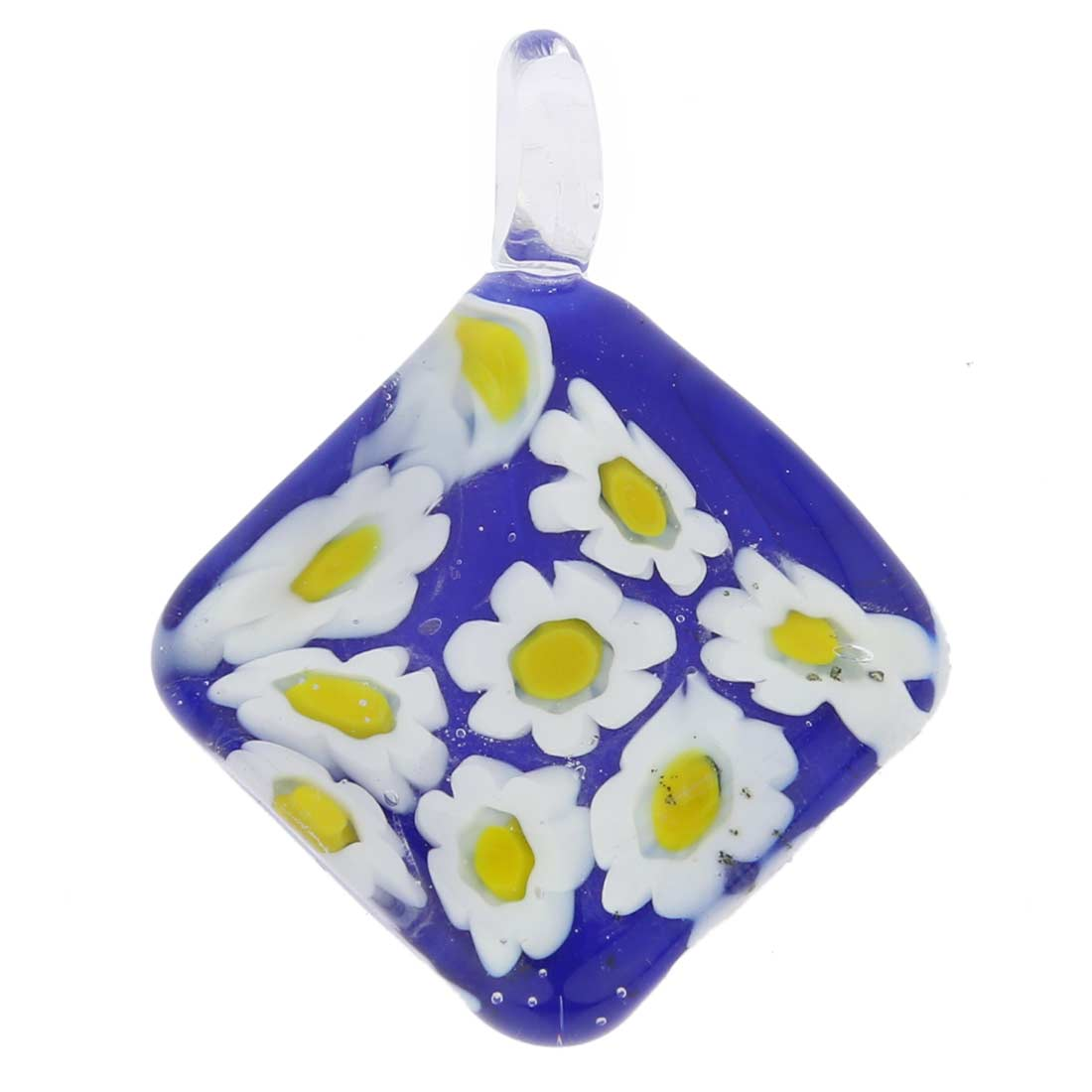 Blue Daisy Diamond-Shaped Pendant