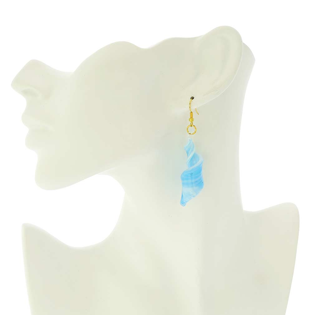 Venetian Marble Spiral Earrings - Aquamarine