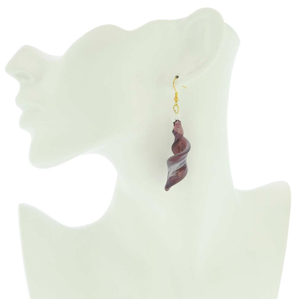 Venetian Marble Spiral Earrings - Purple