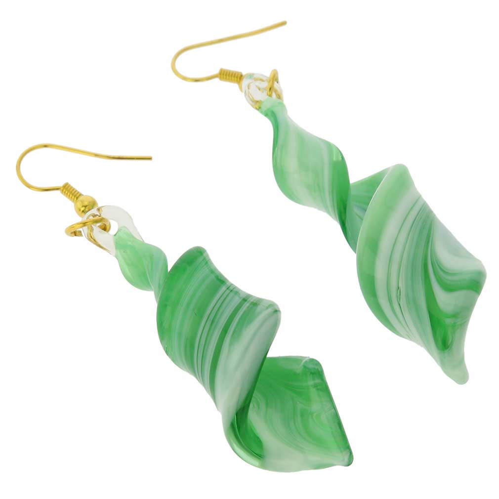 Venetian Marble Spiral Earrings - Emerald