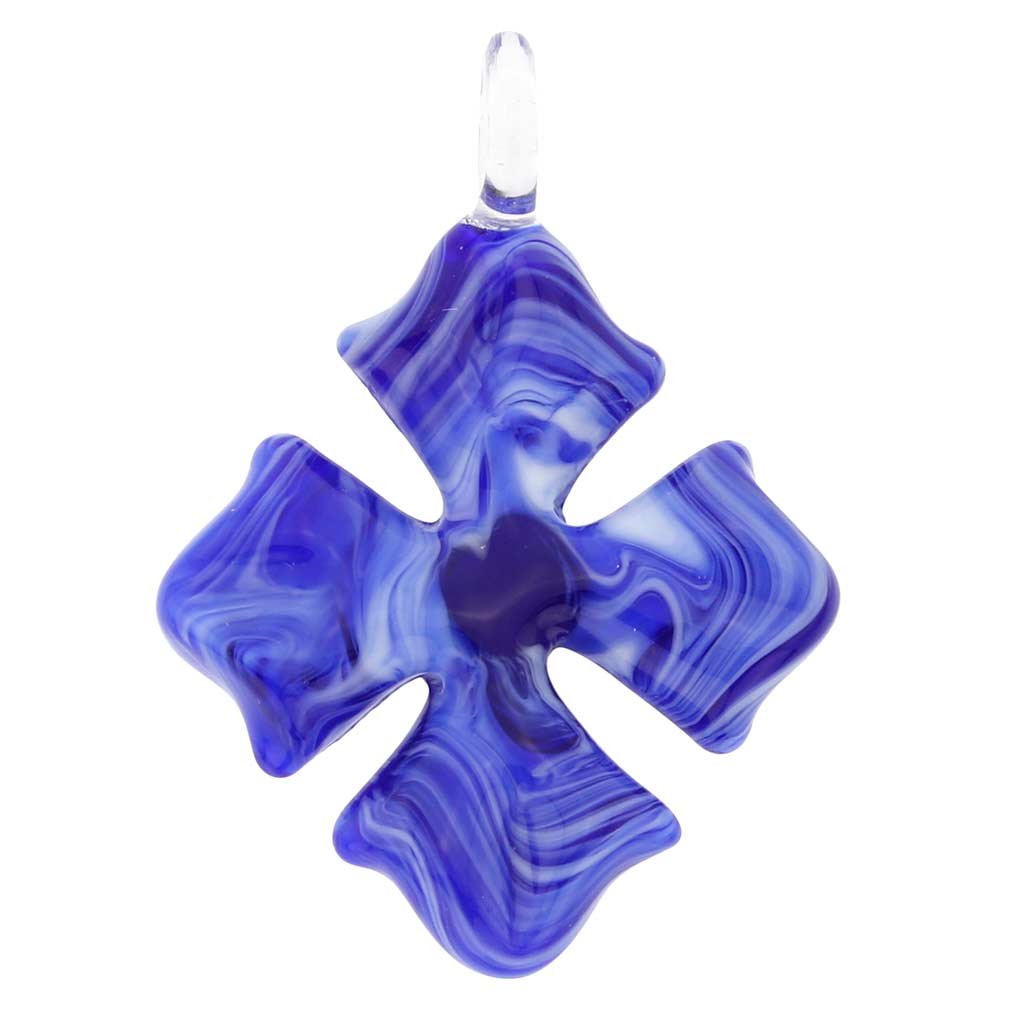 Venetian Marble Cross Pendant - blue