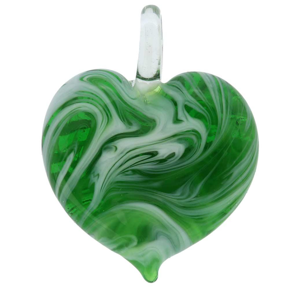 Venetian Marble Heart Pendant - Emerald