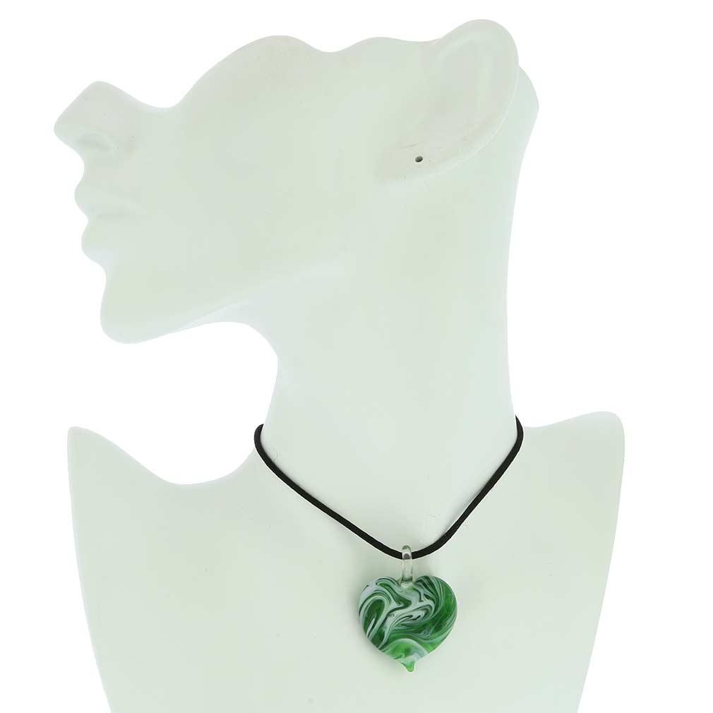 Venetian Marble Heart Pendant - Green