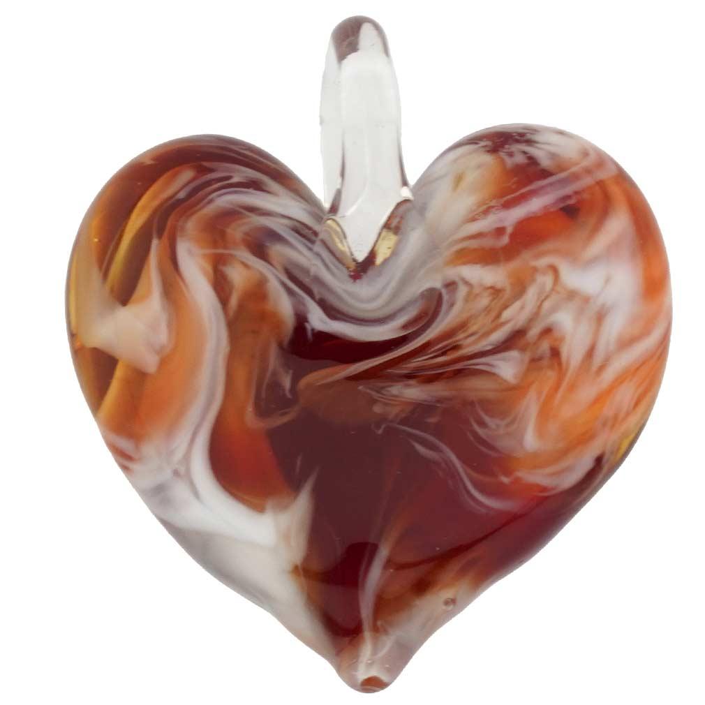 Venetian Marble Heart Pendant - Red