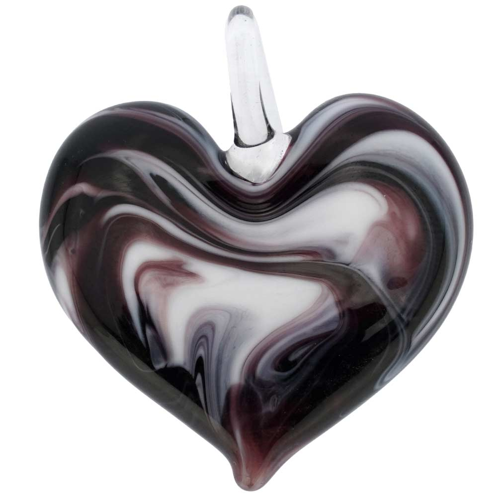 Venetian Marble Heart Pendant - Black and White