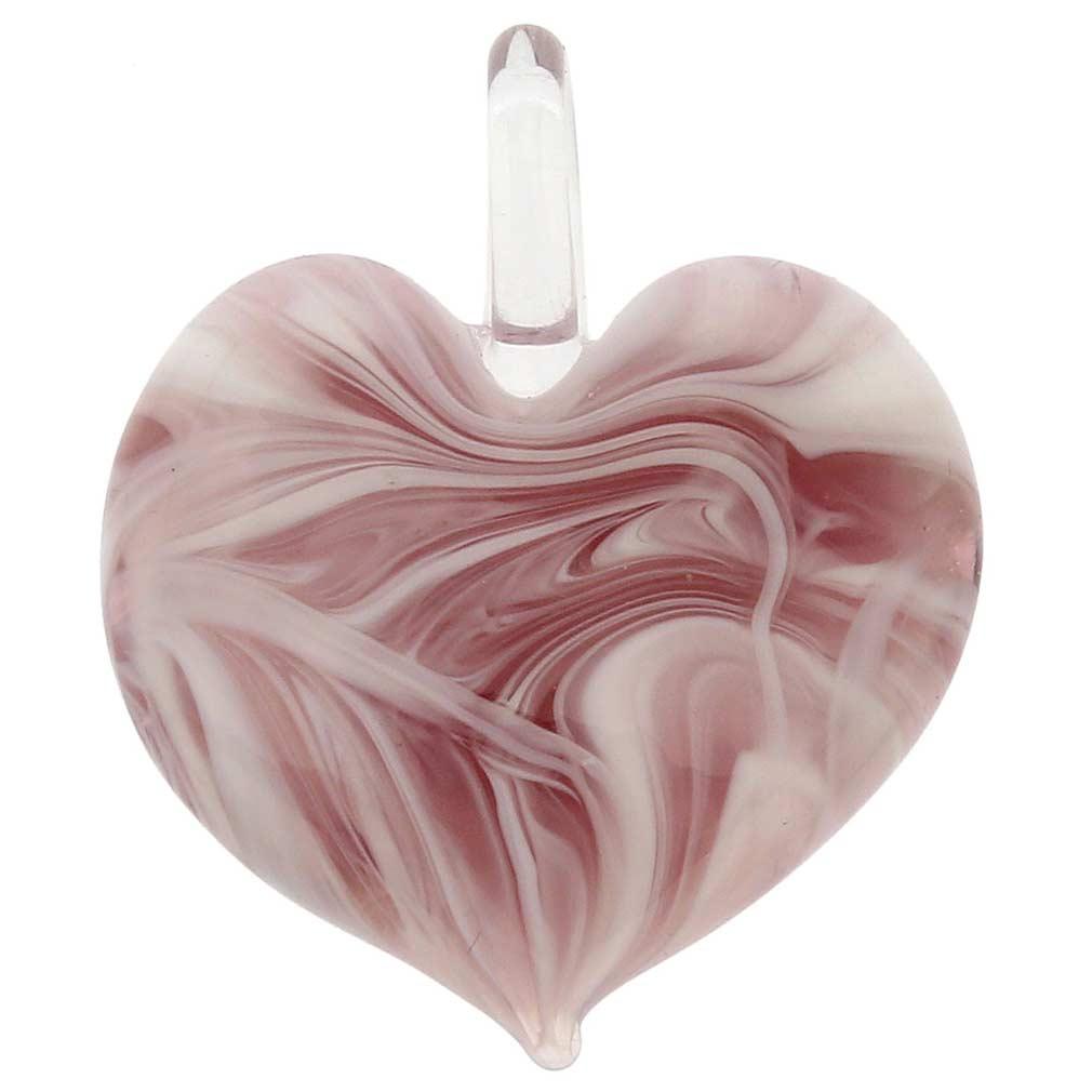 Venetian Marble Heart Pendant - Purple