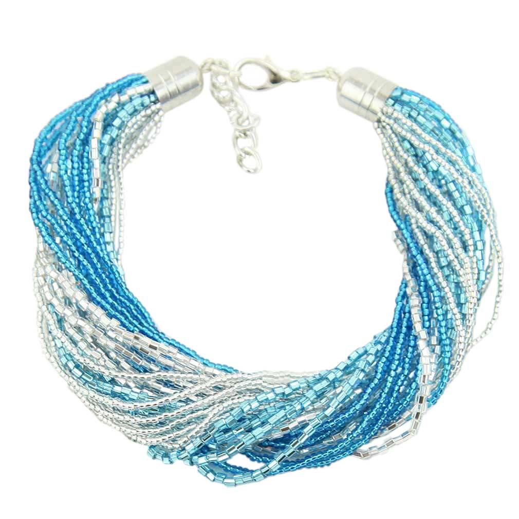 Gloriosa 24 Strand Seed Bead Murano Bracelet - Silver Aqua