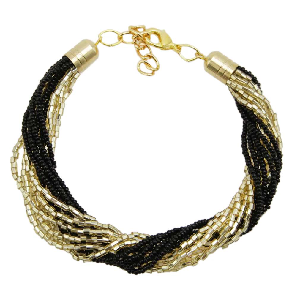 Gloriosa 12 Strand Seed Bead Murano Bracelet - Black and Gold