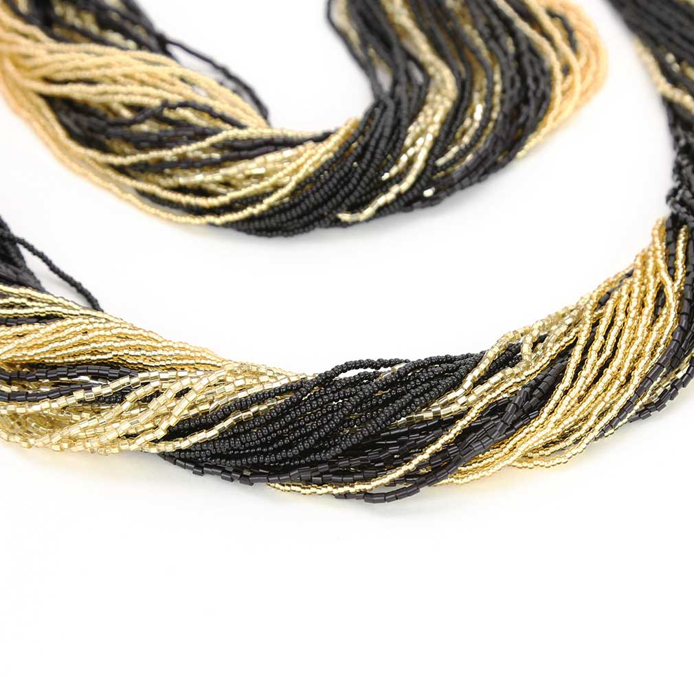 Dogaressa 48 Strand Necklace and Bracelet- Gold and Black