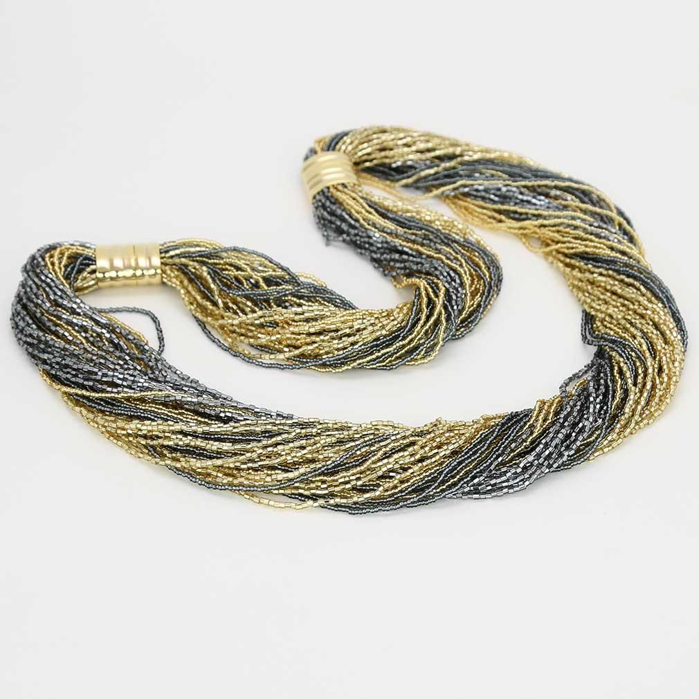 Dogaressa 48 Strand Necklace and Bracelet- Gold and Grey