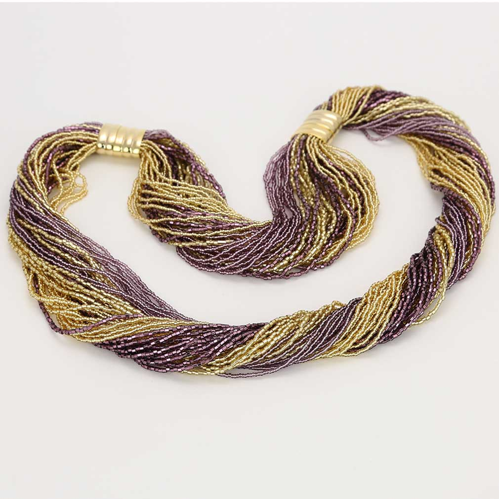 Dogaressa 48 Strand Necklace and Bracelet- Gold and Amethyst