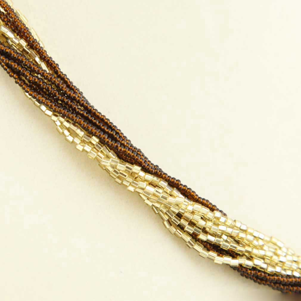 Gloriosa 12 Strand Seed Bead Murano Necklace - Topaz and Gold