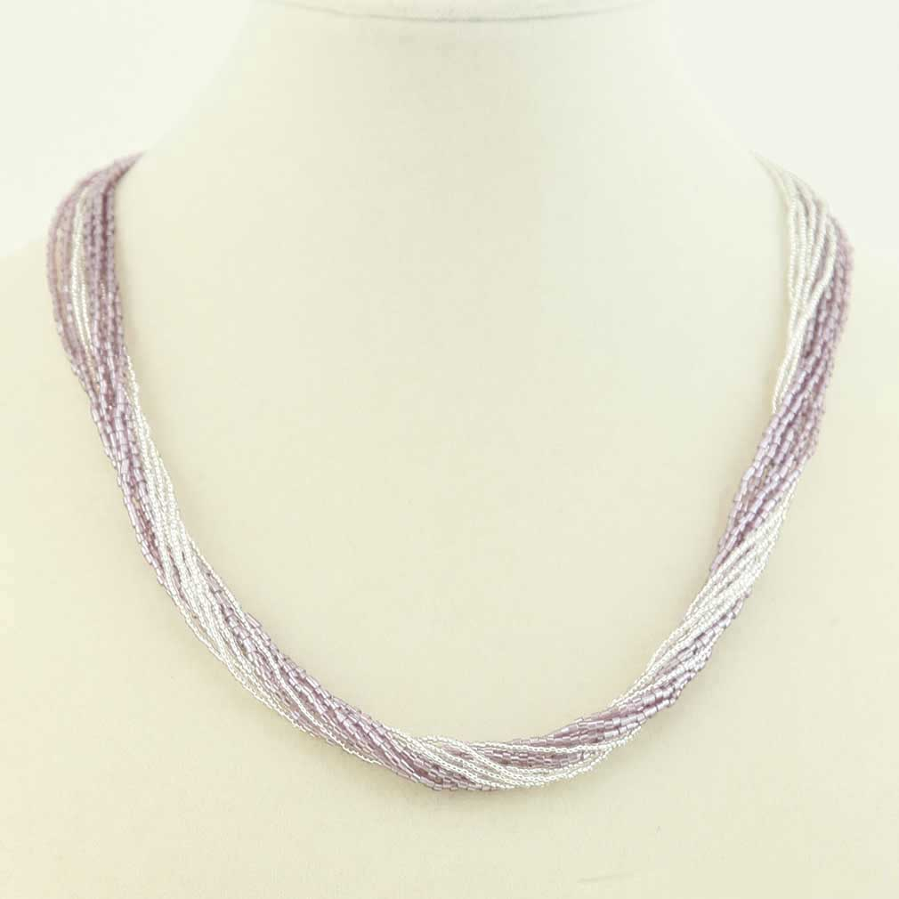 Gloriosa 12 Strand Seed Bead Murano Necklace - Silver Purple