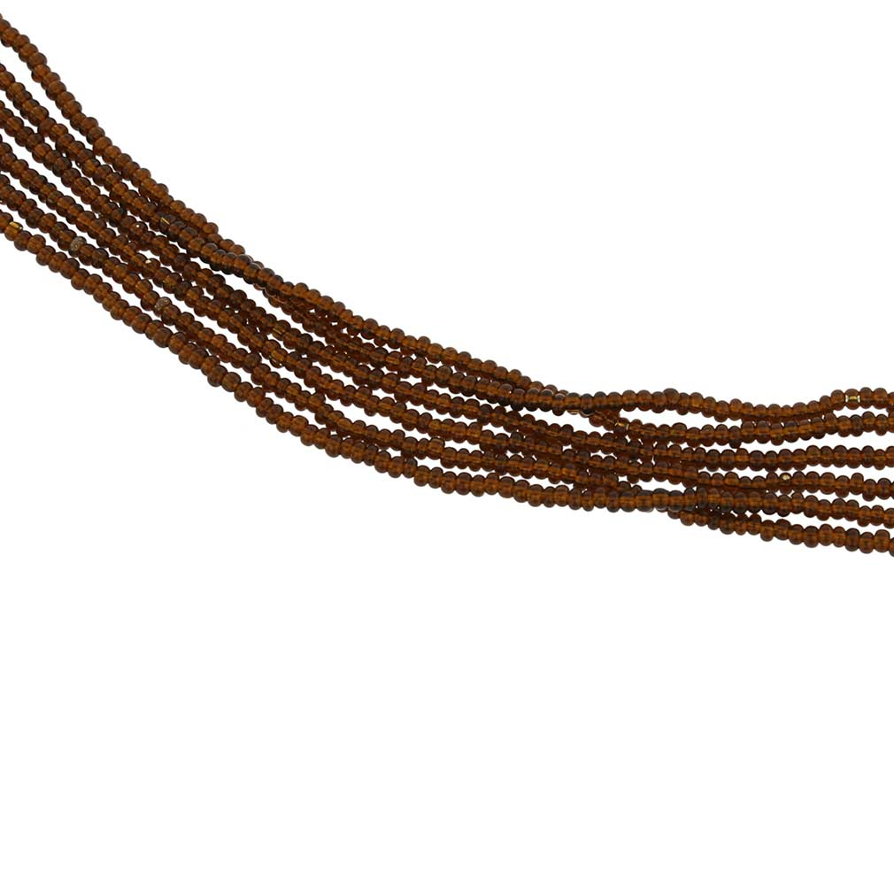Six Strand Seed Bead Necklace - Imperial Topaz