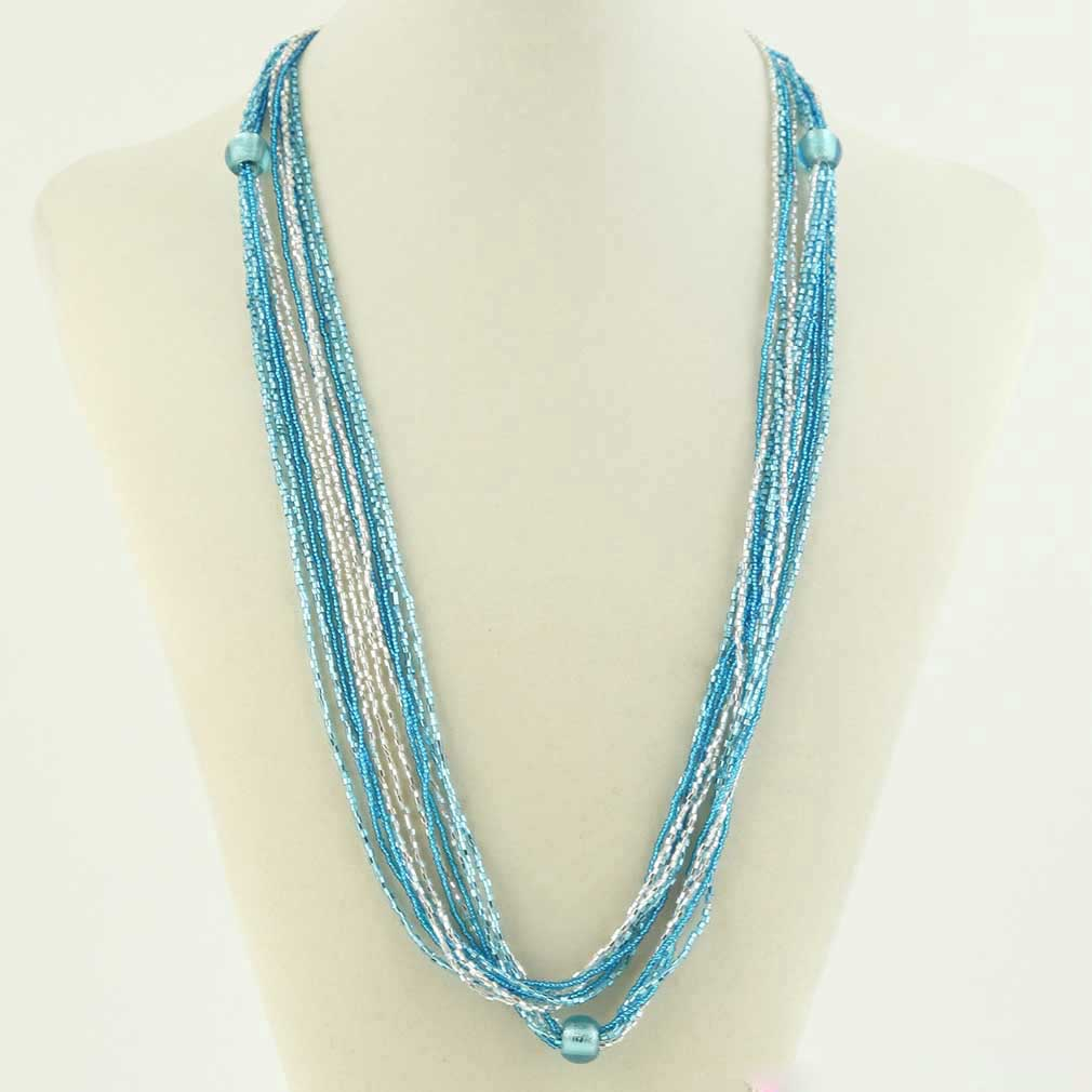 Stella Seed Bead Long Murano Necklace - Silver Blue