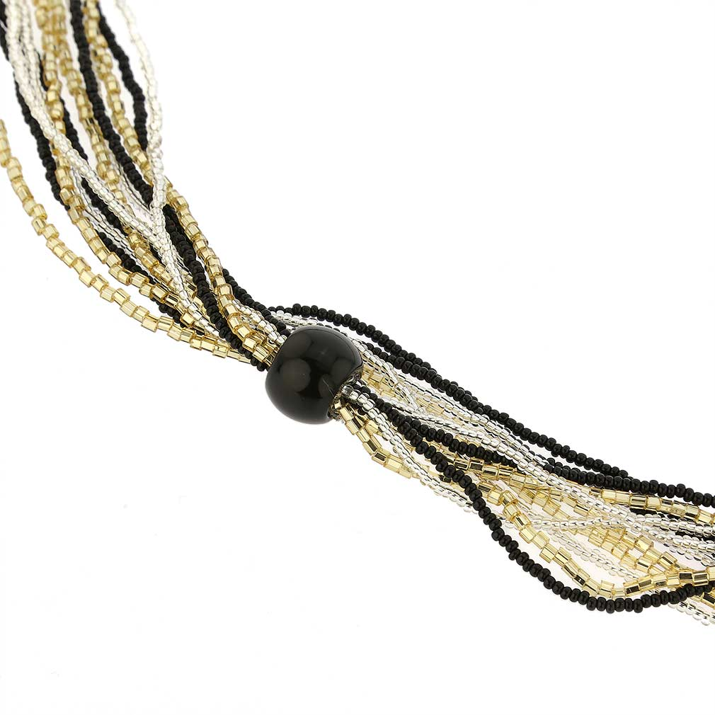 Stella Seed Bead Long Murano Necklace - Gold Silver and Black