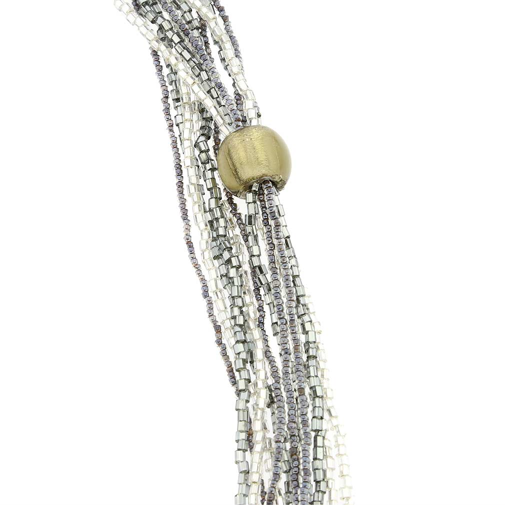 Stella Seed Bead Long Murano Necklace - Silver Grey