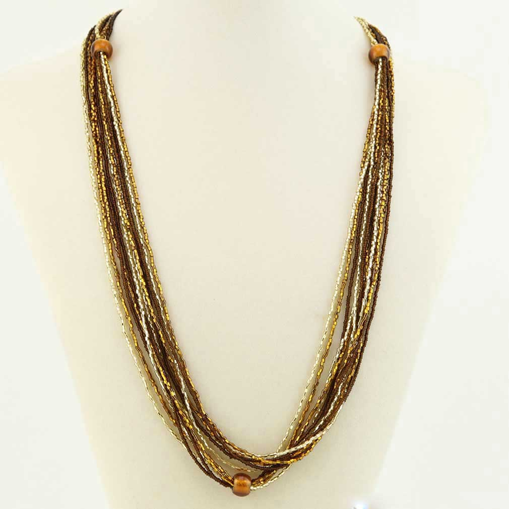 Stella Seed Bead Long Murano Necklace - Topaz and Gold