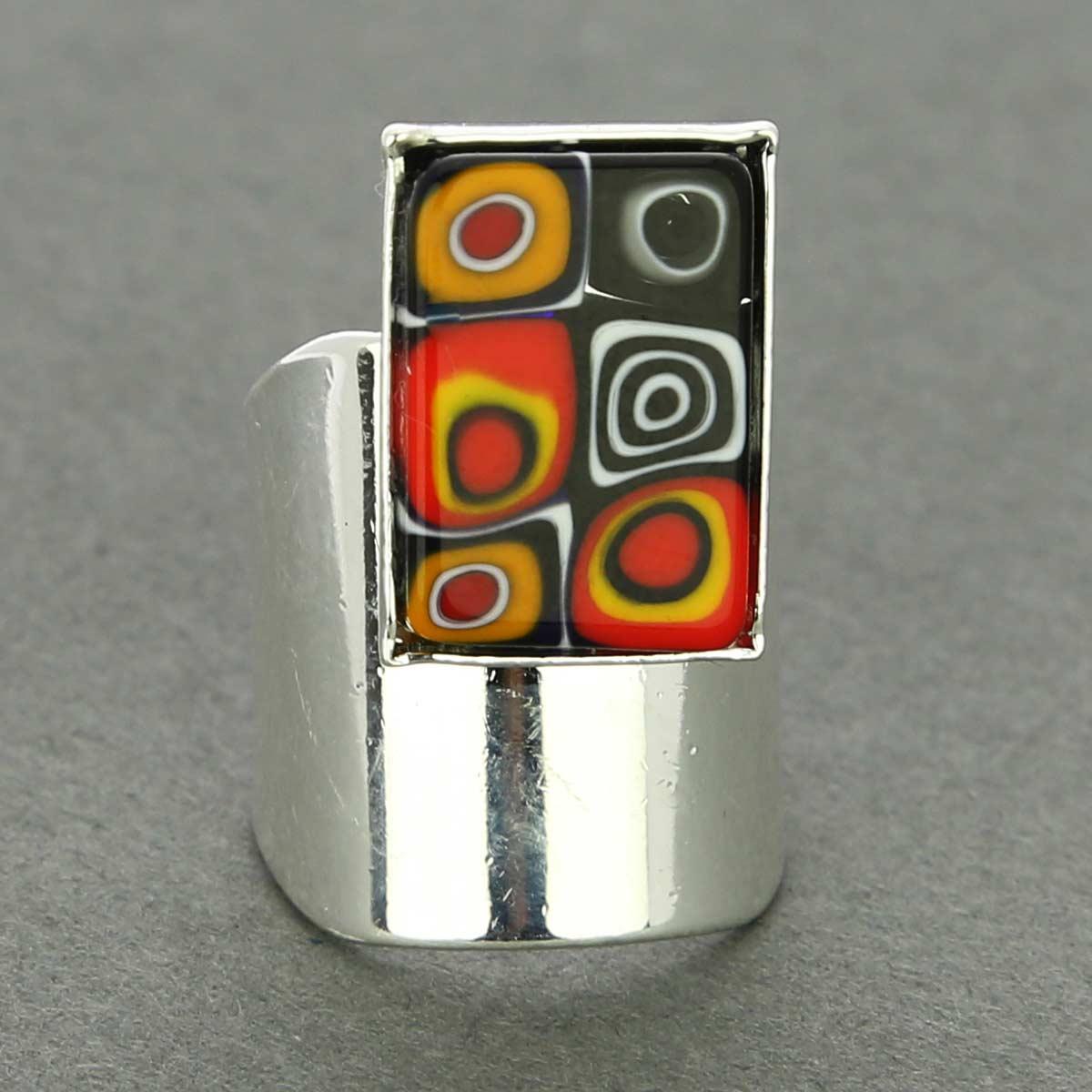Murano Mosaic Rectangular Ring - Multicolor