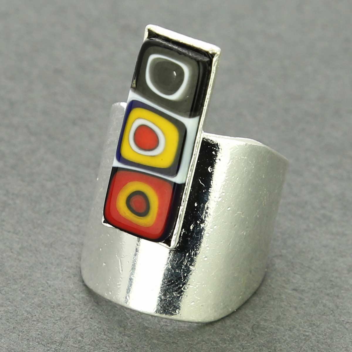 Murano Mosaic Stick Contemporary Ring - Multicolor