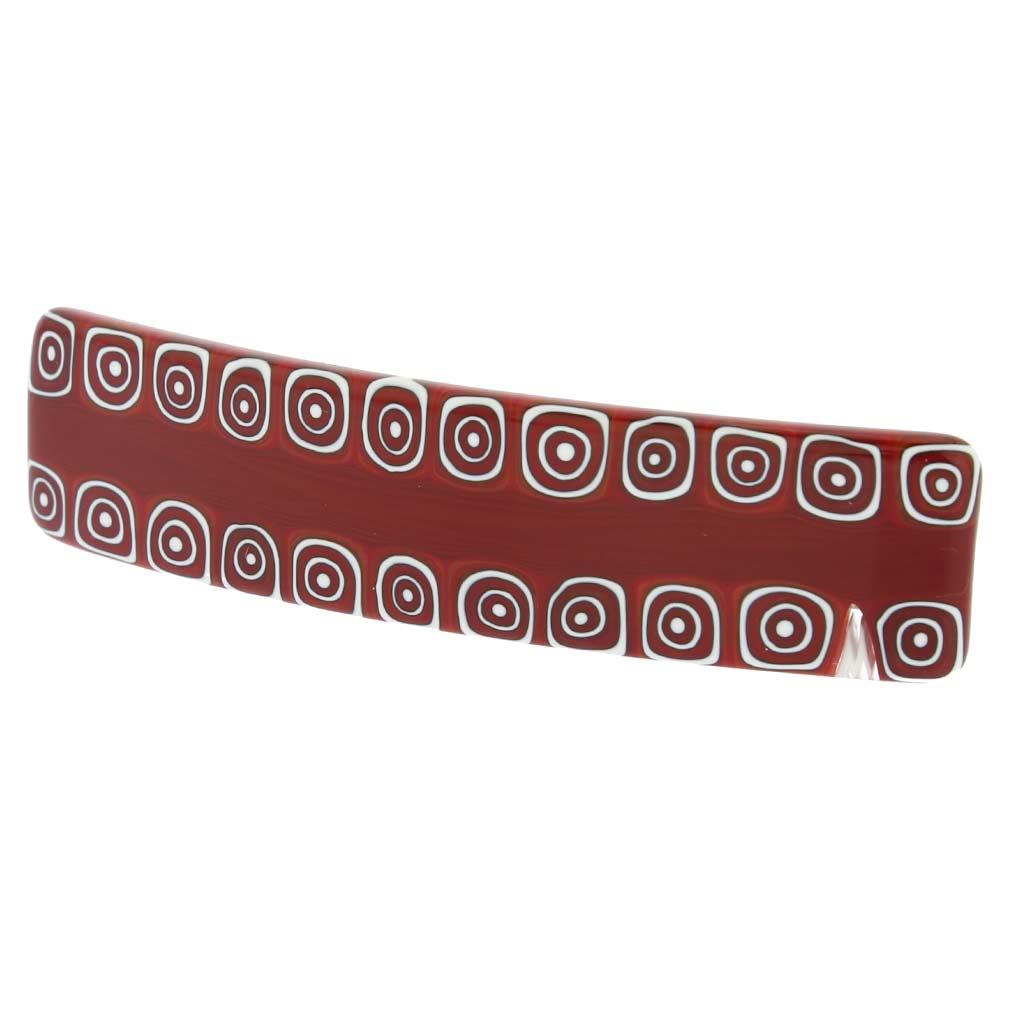 Murano Millefiori Hair Clip - Red