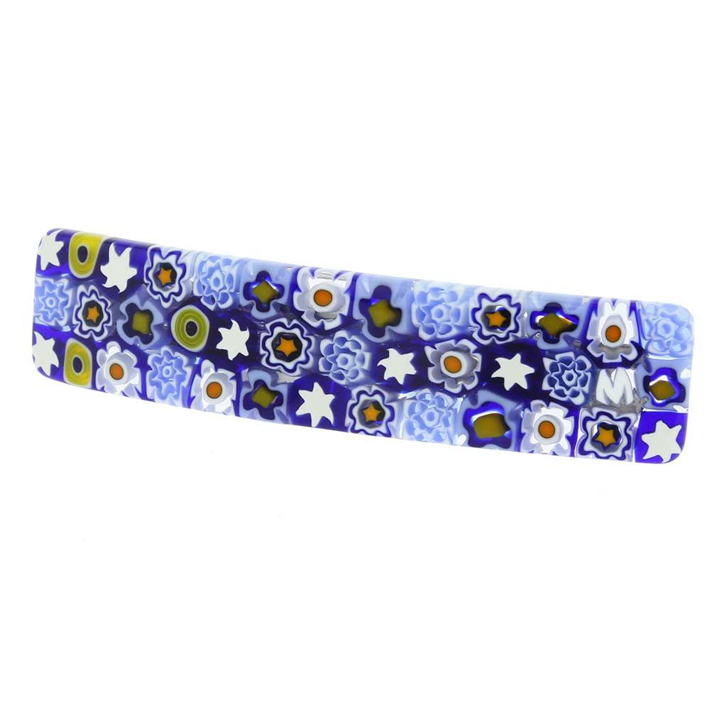Murano Millefiori Hair Clip - Blue Flowers